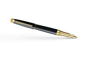Перьевая ручка Caran d'Ache Leman Ebony Black Gold, перо F, позолота, лак  4799-272