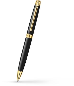 Шариковая ручка Caran d'Ache Leman Ebony Black Gold, позолота, лак  4789-282