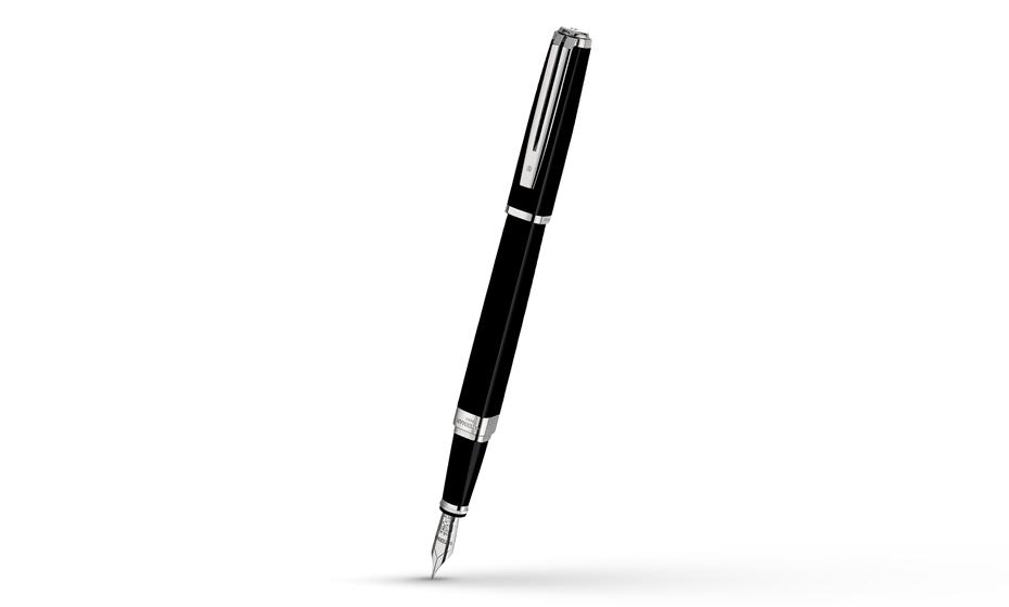 Перьевая ручка Waterman Exception Slim Black Lacquer ST, золото 18К, родие  S0637010 3501170637012