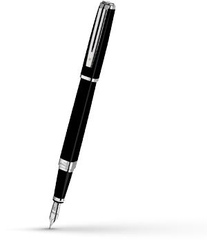 Перьевая ручка Waterman Exception Slim Black Lacquer ST, золото 18К, родие  S0637010