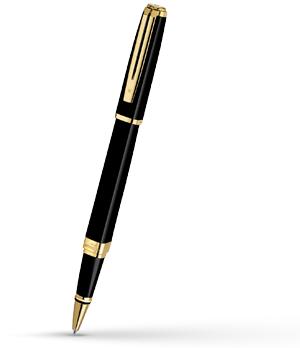 Чернильная ручка Waterman Exception Slim Black Lacquer GT, блестящий лак, по  S0636990