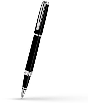 Чернильная ручка Waterman Exception Slim Black Lacquer ST, блестящий лак, по  S0637070