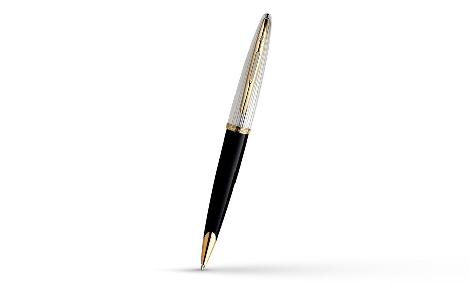 Шариковая ручка Waterman Carene DeLuxe Black GT, лак, серебряное покрытие,  21200