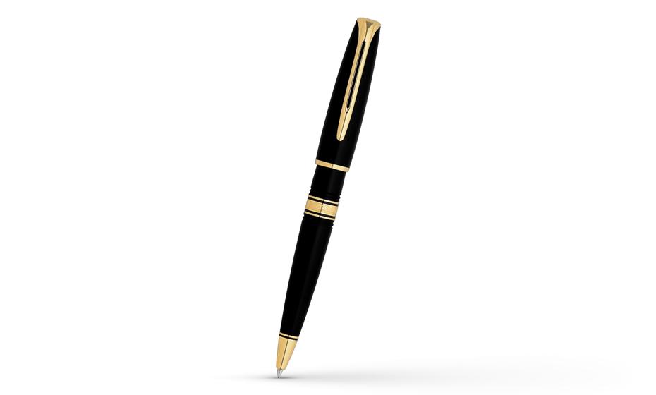 Шариковая ручка Waterman Charleston Ebony Black GT, акриловая смола, позоло  W1300B