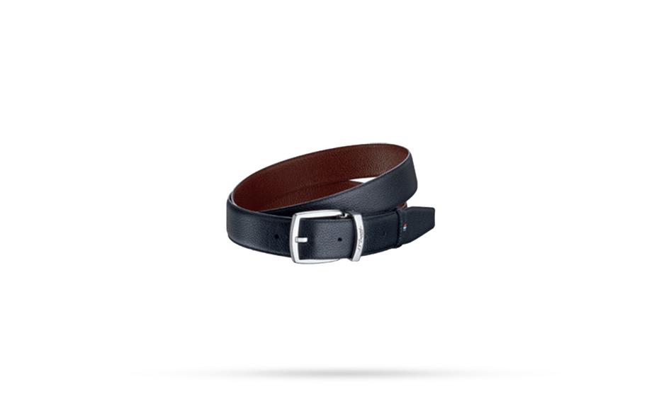 Ремень S.T. Dupont Line D, черно-коричневый, кожа, палладий, 125х3,5  8210155