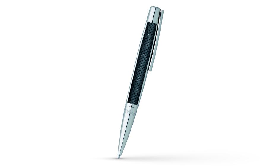 Шариковая ручка S.T. Dupont Defi, черная перфорированная кожа, палладиевое пок  405716