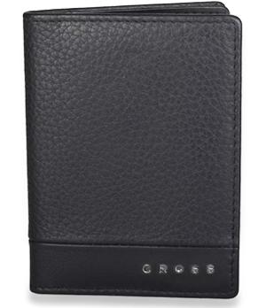 Визитница Cross кожа, черная, отделение для пропуска с прозрачным  AC028387-1