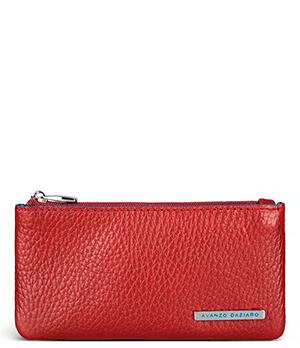 Ключница Avanzo Daziaro GRAIN, на молнии, зернистая кожа, красная  AD-018-151404'