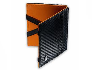 Бумажник Dalvey Dalvey, кожа с тиснением карбон, черно-оранжевый  3261