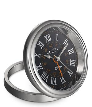 Настольные часы Dalvey Clipper Clock, черный циферблат, нержавеющая сталь  3274