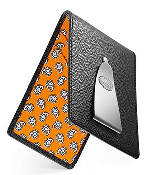 Кредитница Dalvey Dalvey, с клипом для денег, кожа, черно-оранжевая  3280
