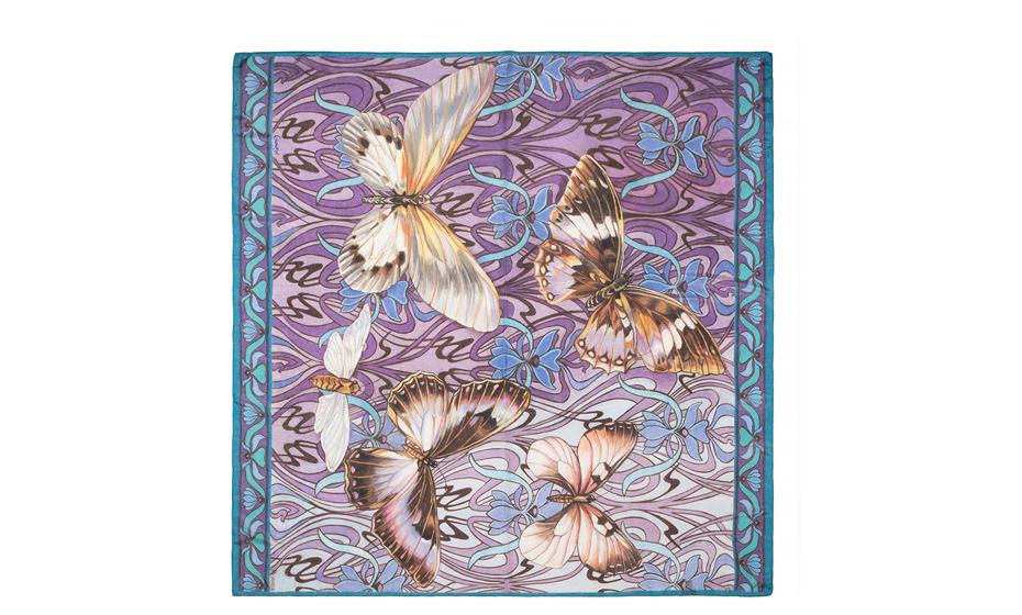 Платок Gourji Gourji, бабочки, шелк  T23BFL7R'