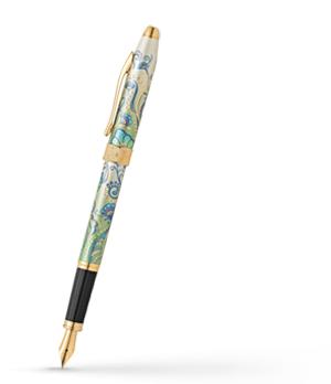 Перьевая ручка Cross Botanica Зеленая Лилия, перо M сталь, позолота 23К  AT0646-4MF