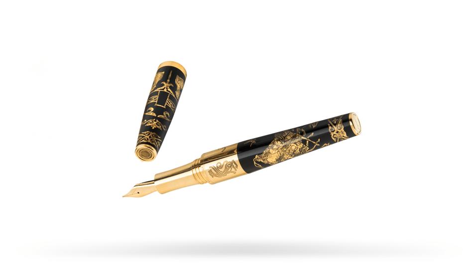 Перьевая ручка Gourji Казахстан, перо F золото 18К, серебро, смола, позо  IFG0R2AK
