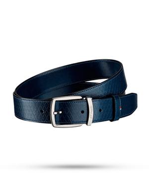 Ремень S.T. Dupont Fire Head Line D, темно-синий, фирменный узор, кож  8210799