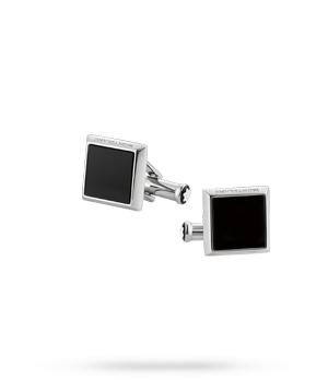 Запонки Montblanc Sartorial, квадратные, сталь,черный оникс  115061