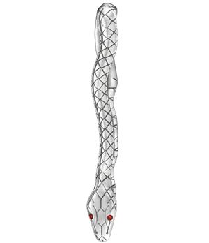 Зажим для галстука Montblanc Serpent, дизайн змея, серебро, красный лак  114753