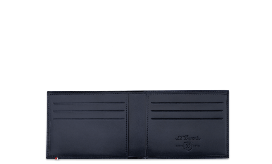 Бумажник S.T. Dupont Line D, кожа, узор Fire Head, синий  180092