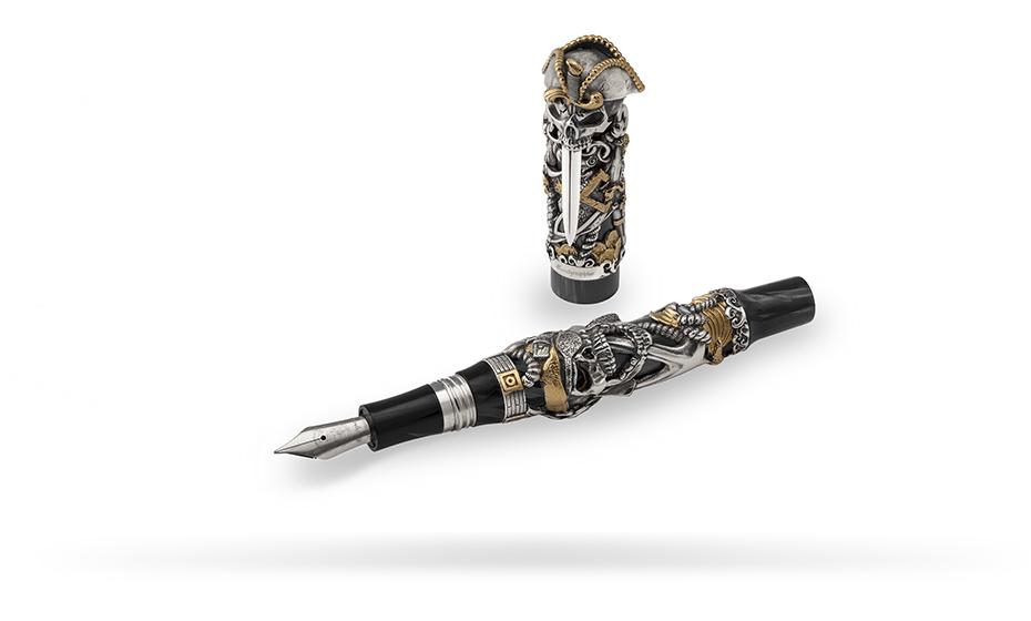 Перьевая ручка Montegrappa Культ пиратов, смола/серебро/позолота  PIRATES-FP