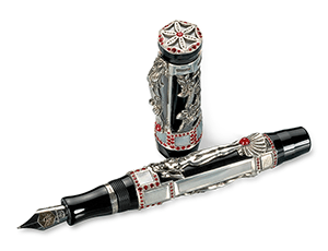 Перьевая ручка Montegrappa Афродита, перо М, черная смола, рубины, брилианты,  APHRODITE/SE
