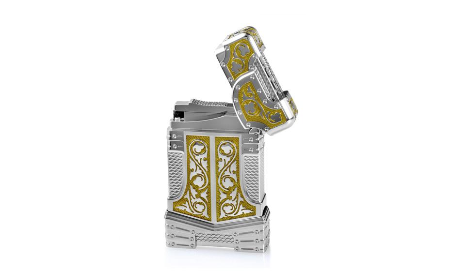 Зажигалка S.T. Dupont Белый рыцарь престиж, золото, палладий, рубин, кам  16145
