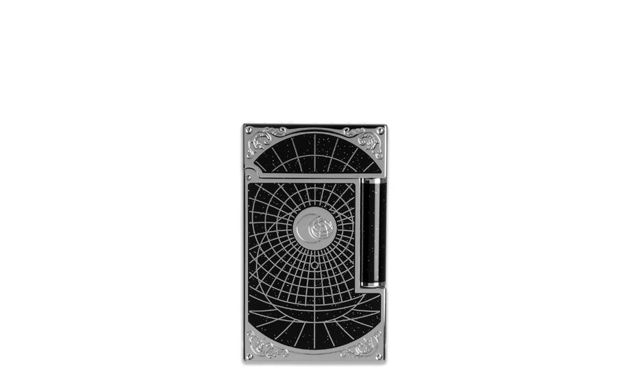 Зажигалка S.T. Dupont Shoot the Moon премиум, черный лак, палладий  16151