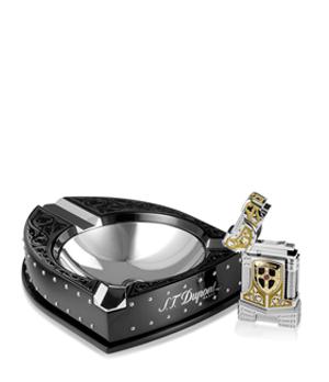 Зажигалка и пепельница S.T. Dupont Белый рыцарь, золото, серебро, рубин, камень Пикас  16173