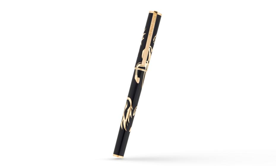 Перьевая ручка S.T. Dupont Лошадь, черный, золотистый  141856
