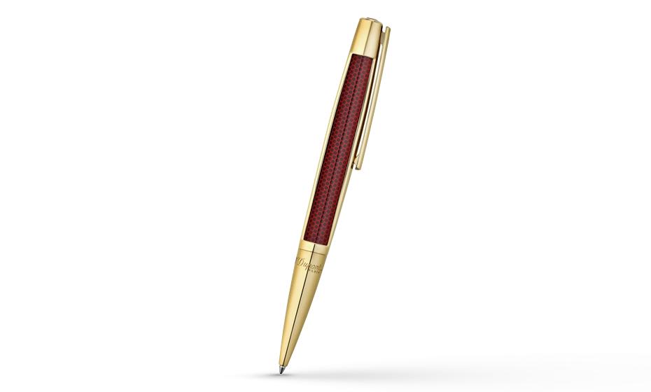 Шариковая ручка S.T. Dupont Defi, красная, лак, желтое золото  405720