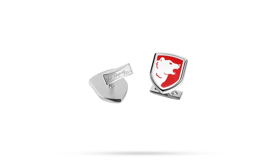Запонки S.T. Dupont S.T. Dupont, форма герба, красный лак, сталь, палл  5743