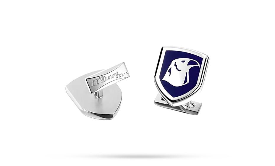 Запонки S.T. Dupont S.T. Dupont, форма герба, синий лак, сталь, паллад  5745