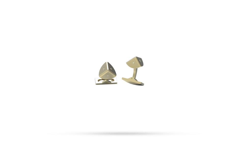 Запонки S.T. Dupont S.T.Dupont, пирамида, 3 бриллианта, позолота  5750