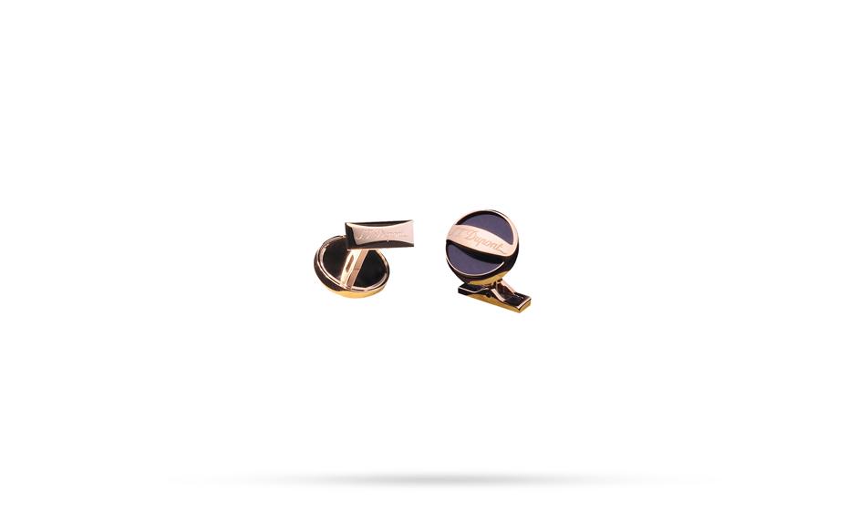 Запонки S.T. Dupont S.T. Dupont, круглые, розовое золото, синий лак  5792