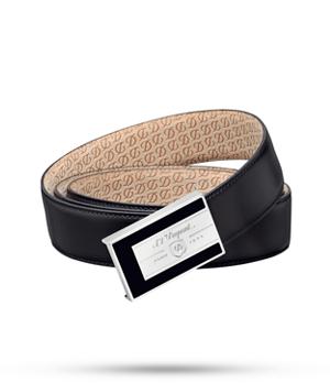 Ремень S.T. Dupont LINE D H?RITAGE, кожа, черный, лак, палладий  51240