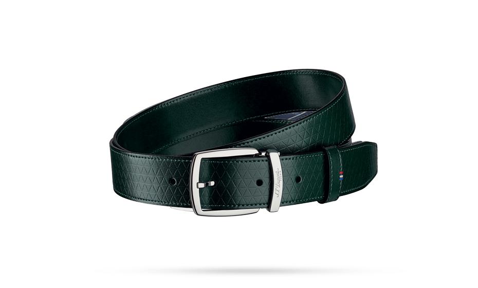 Ремень S.T. Dupont FIREHEAD LINE D, кожа с тиснением, темно-зеленый  8210800