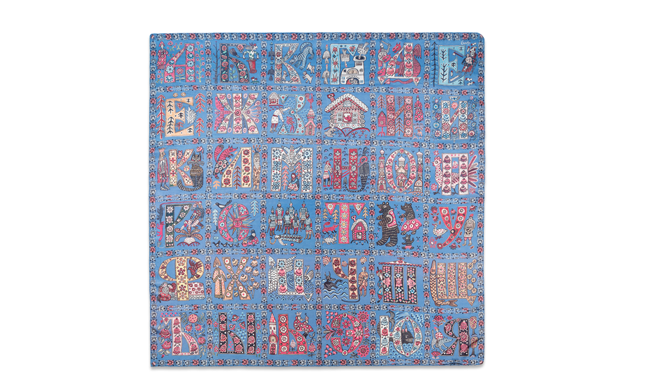 Платок Gourji Алфавит, 120x120 см, шелк, голубой  T21ALPH7BLR