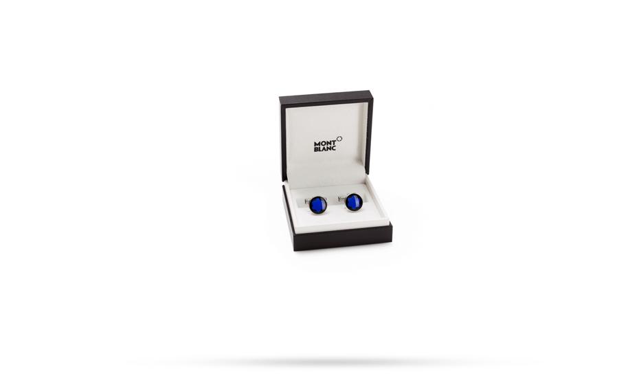 Запонки Montblanc круглые, сталь, синее минеральное стекло  114769