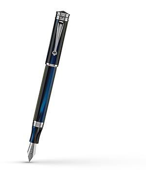 Перьевая ручка Montegrappa Ducale Murano, Mare (Steel & Blue), смола, синяя,  DUCF-IF