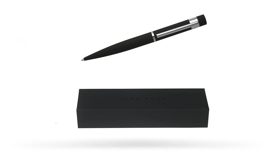 Шариковая ручка Hugo Boss Loop Black корпус латунь и резина с отделкой хромом, арт. HSG5904