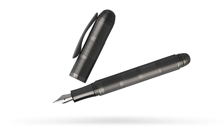 Перьевая ручка Hugo Boss Sequence Chrome-Plated, темно-матовый хром  HSH6502