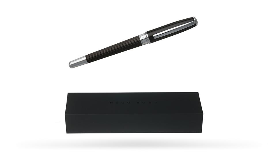 Перьевая ручка Hugo Boss Essential Striped, черный, сталь  HSV5762