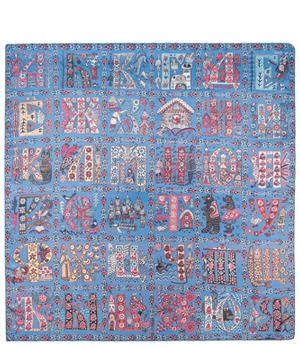 Платок Gourji Алфавит, 120x120 см, шелк, голубой  T21ALPH7BLR'