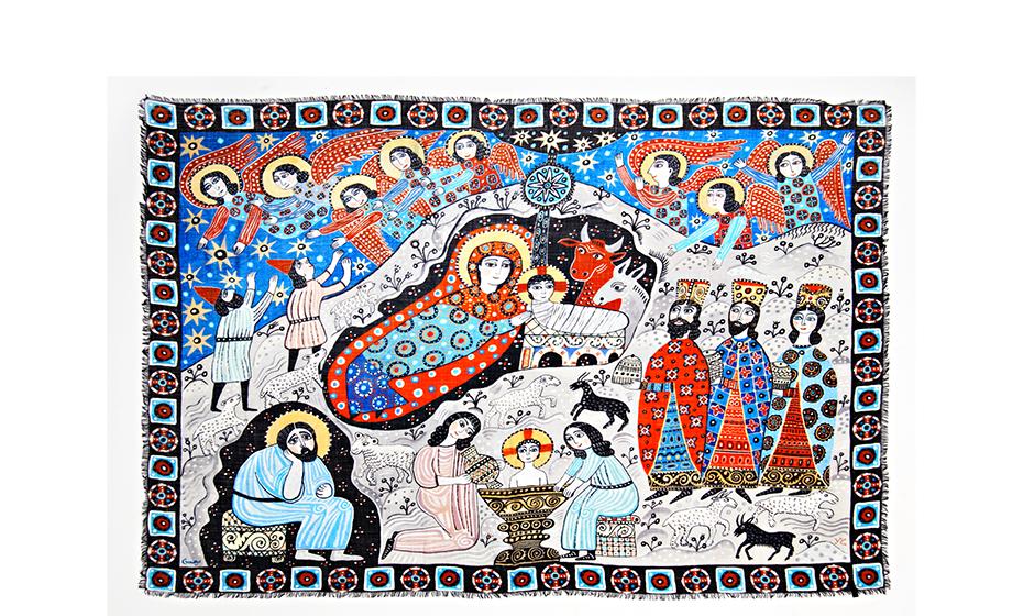 Шаль Gourji Рождество, 140x180 см, кашемир, цветная  T21XMS8RDF'
