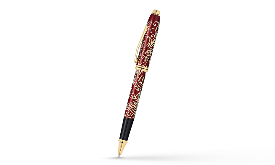 Чернильная ручка Cross ювелирная латунь, отделка - красный лак, позолота  AT0045-45