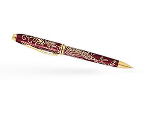 Шариковая ручка Cross Год Петуха, красный лак, позолота  AT0042-45
