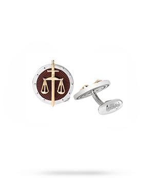 Запонки Gourji Закон и порядок, круглые, коричневая эмаль, серебр  01H050260ЭА'