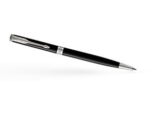 Шариковая ручка Parker Соннет, черный глянцевый лак, латунь, нержавеющая  1931503