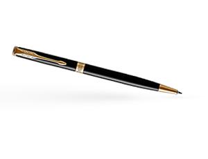 Шариковая ручка Parker Соннет, черный глянцевый лак, латунь, нержавеющая  1931498
