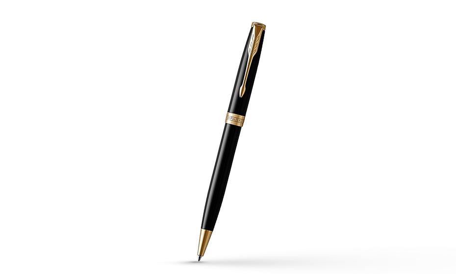 Шариковая ручка Parker Соннет, черный глянцевый лак, латунь, нержавеющая  1931497 351179314976