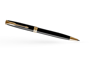 Шариковая ручка Parker Соннет, черный глянцевый лак, латунь, нержавеющая  1931497